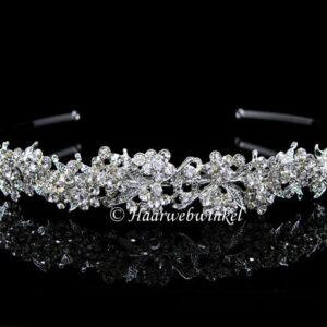 Tiara Diadeem Verzilverd Bloemetjes Swarovski Kristal