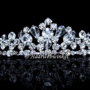 Tiara Diadeem Verzilverd Met Oostenrijks Kristal