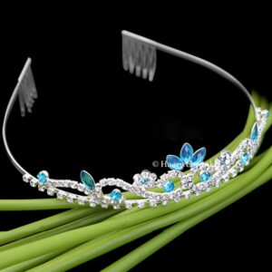 Tiara Verzilverd Met Oostenrijks Kristal Turquoise