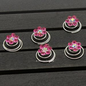 Curlie Met Bloemetje Van Strass 11mm Kleur Fuchsia Roze 5H2010-08 Fuchsia Roze