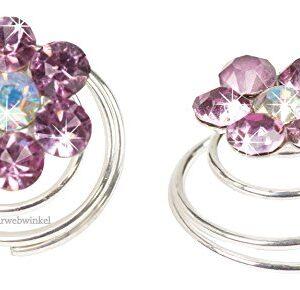 Curlie Met Bloemetje Van Strass 11mm Kleur Lavendel Paars 5H2010-08 Lavendel Paars