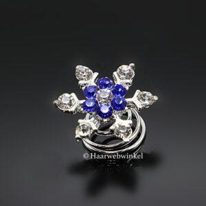 Curlie Met Een Bloemetje En Strass Steentjes 20mm Kleur Blauw EBC23-Blauw