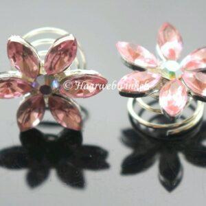 Curlie Met Een Bloemetje Van Strass Steentjes 20mm Kleur Roze EBC24-Roze