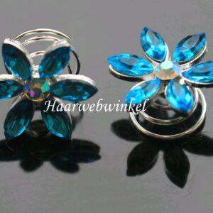 Curlie Met Een Bloemetje Van Strass Steentjes 20mm Kleur Turquoise EBC24-Turquoise