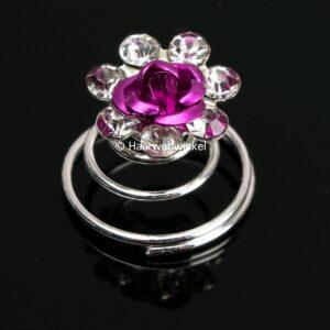 Curlie Met Een Roosje En Strass Steentjes 11mm Kleur Fuchsia Roze EBC13-Fuchsia Roze