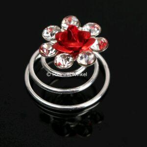 Curlie Met Een Roosje En Strass Steentjes 11mm Kleur Rood EBC13-Rood