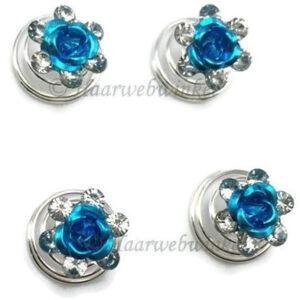 Curlie Met Een Roosje En Strass Steentjes 11mm Kleur Turquoise EBC13-Turquoise