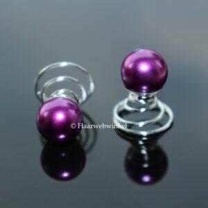 Curlie Met Grote Parel 10mm Kleur Paars EBC004-Paars