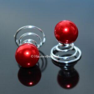 Curlie Met Grote Parel 10mm Kleur Rood EBC004-Rood