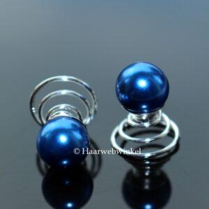Curlie Met Grote Parel 10mm Kleur Royaalblauw EBC004-Royaalblauw