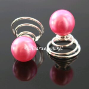Curlie Met Grote Parel 10mm Kleur Roze EBC004-Roze