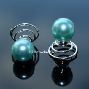 Curlie Met Grote Parel 10mm Kleur Zeeblauw Turquoise EBC004-Zeeblauw