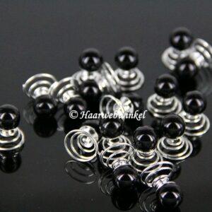 Curlie Met Grote Parel 10mm Kleur Zwart EBC004-Zwart