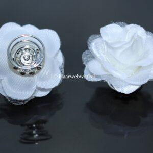 Curlie Met Roosje Van Fijn Tule 30mm Kleur Wit