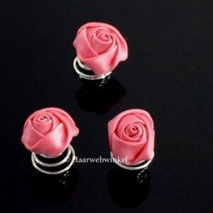 Curlie Met Roosje Van Zijde 11mm Kleur Roze 6H0104-03 Roze