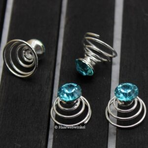 Curlie Met Strass Steen 8mm Kleur Turquoise 6H0044-Turquoise