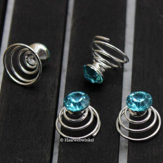 Curlie Met Strass Steen 8mm Kleur Turquoise 6H0044-Turquoise