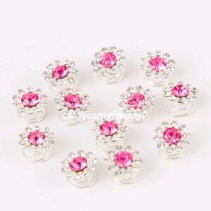 Curlie Met Strass Steentjes 15mm Kleur Roze EBC19-Roze