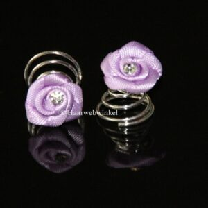 Curlie Satijnen Roosje Met Strass 12mm Kleur Lila Paars 6H0104-02 Lila Paars