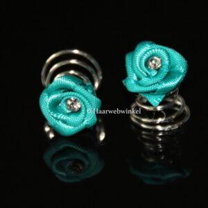Curlie Satijnen Roosje Met Strass 12mm Kleur Turquoise 6H0104-02 Turquiose