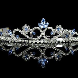 Tiara Verzilverd Met Oostenrijks Kristal Lichtblauw EB037