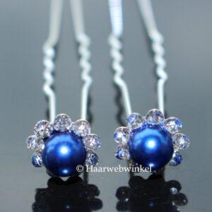 Haarpin Bloem Met Strass Steentjes En Parel 10mm Kleur Blauw
