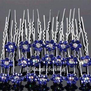 Haarpin Met Bloem Van Strass Steentjes 13mm Kleur Donkerblauw EBH019-Donkerblauw