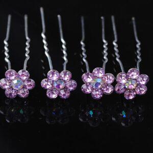 Haarpin Met Bloem Van Strass Steentjes 13mm Kleur Lavendel Paars EBH019-Lavendelpaars