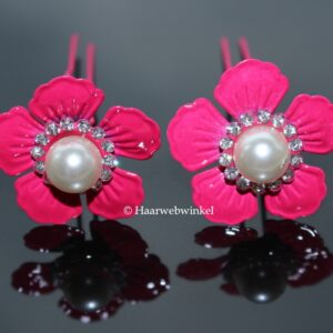 Haarpin Met Grote Bloem Met Strass En Parel 37mm Kleur Roze EBH011