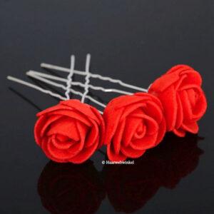 Haarpin Met Grote Roos Van Foam 30mm Kleur Rood EBH032-Rood