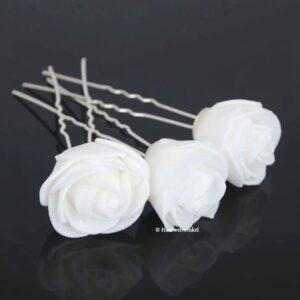 Haarpin Met Grote Roos Van Foam 30mm Kleur Wit EBH032-Wit