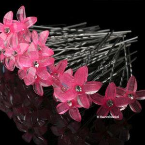 Haarpin Met Kunststof Bloemetje 12mm Kleur Roze EBH028-Roze