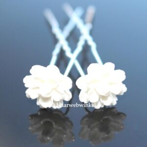 Haarpin Met Kunststof Lotusbloem 14mm Kleur Wit EBH023