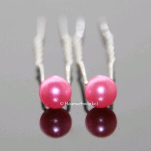 Haarpin Met Parel 10mm Kleur Roze haar_026-Roze