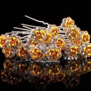 Haarpin Met Romantisch Roosje En Strass Steentjes 11mm Kleur Goud EBH-004-Goud