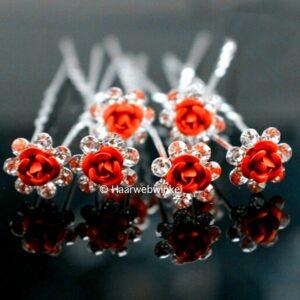 Haarpin Met Romantisch Roosje En Strass Steentjes 11mm Kleur Rood EBH-004-Rood