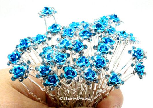 Haarpin Met Romantisch Roosje En Strass Steentjes 11mm Kleur Turquoise EBH004-Zeeblauw (1)