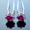 Haarpin Met Romantisch Roosje En Strass Steentjes 11mm Kleur Violet Roze EBH004-Violet Roze