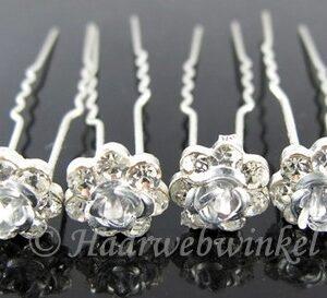 Haarpin Met Romantisch Roosje En Strass Steentjes 11mm Kleur Zilver EBH004-Zilver