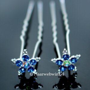 Haarpin Met Romantische Bloem Van Strass Steentjes 12mm Kleur Blauw EBH005-Blauw