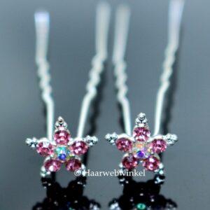 Haarpin Met Romantische Bloem Van Strass Steentjes 12mm Kleur Licht Roze EBH005-Lichtroze