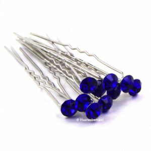 Haarpin Met Strass Steen 11mm Kleur Blauw EBH078-Blauw