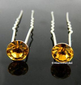 Haarpin Met Strass Steen 11mm Kleur Oranje EBH078-Oranje