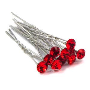 Haarpin Met Strass Steen 11mm Kleur Rood EBH078-Rood