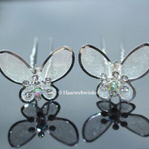 Haarpin Met Vlinder Met Strass Steentjes 37mm Kleur Zilver EBH012