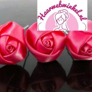 Haarpin Met Zijden Roosje 22mm Kleur Donker Roze