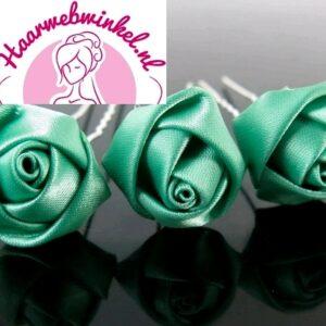 Haarpin Met Zijden Roosje 22mm Kleur Groen EBH007-Groen