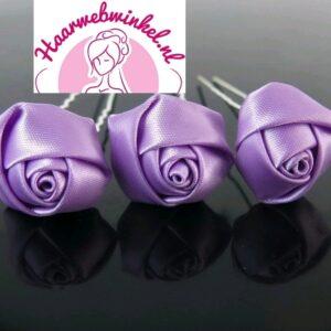 Haarpin Met Zijden Roosje 22mm Kleur Lavendel Lila Paars EBH007-Lila