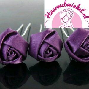 Haarpin Met Zijden Roosje 22mm Kleur Paars EBH007-Paars