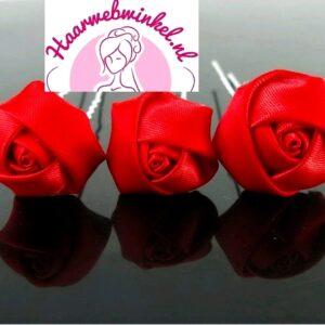 Haarpin Met Zijden Roosje 22mm Kleur Rood EBH007-Rood